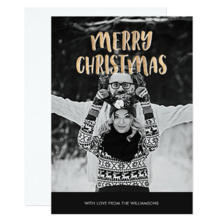 Carte de voeux de Joyeux Noël d'or et de photo