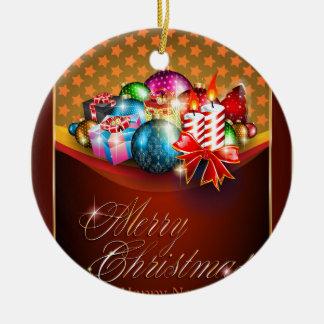 Carte de voeux de Joyeux Noël Ornement Rond En Céramique