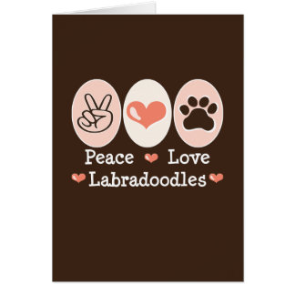 Carte de voeux de Labradoodles d'amour de paix