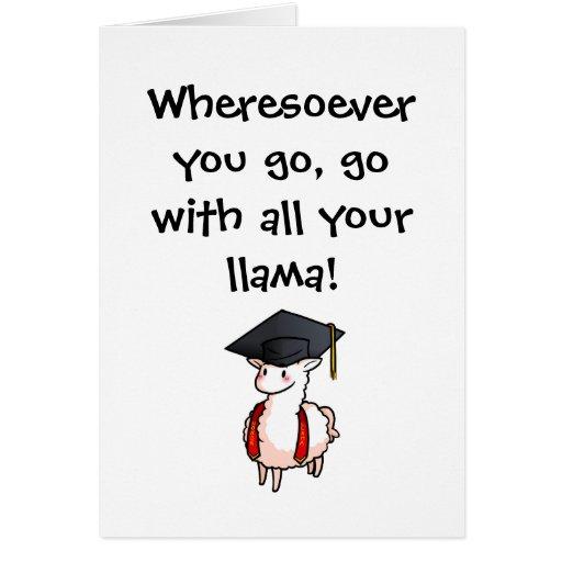 Carte de voeux de lama d'obtention du diplôme