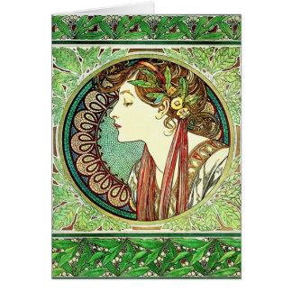 Carte de voeux de laurier d'Alphonse Mucha