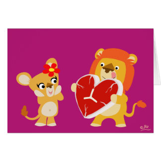Carte de voeux de lions d'amour
