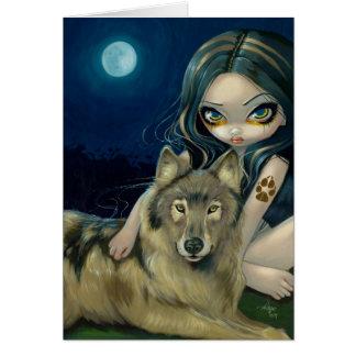 """Carte de voeux """"de lune de loup"""""""