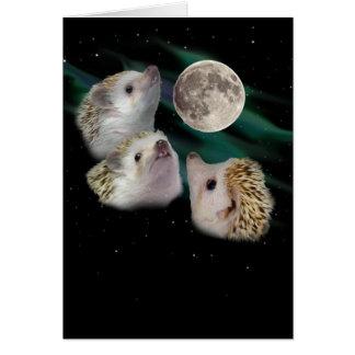 Carte de voeux de lune de trois hérissons