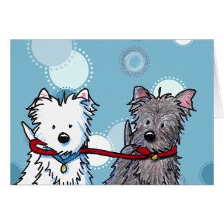 Carte de voeux de marche d'amis de KiniArt Terrier