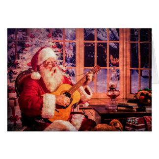 Carte de voeux de Noël avec chanter Père Noël