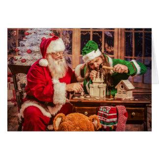 Carte de voeux de Noël avec Père Noël et Elf