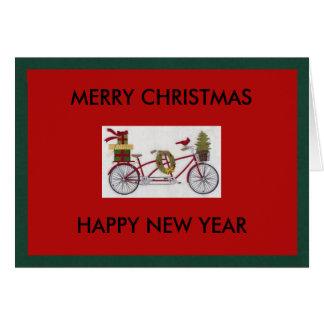 Carte de voeux de Noël de bicyclette et de