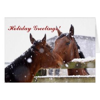 Carte de voeux de Noël de cheval de tempête de nei