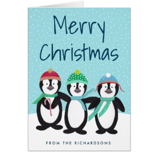 Carte de voeux de Noël de copains de pingouin