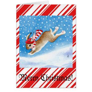 Carte de voeux de Noël de lapin de neige