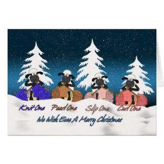 carte de voeux de Noël de moutons de tricot - nous