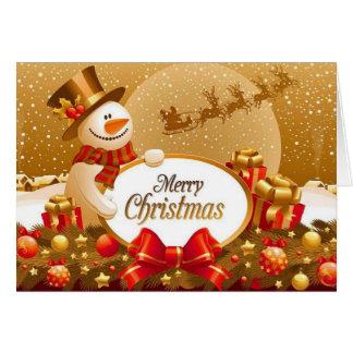 Carte de voeux de Noël de neige d'or