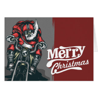 Carte de voeux de Noël de Père Noël de cycliste
