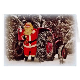 Carte de voeux de Noël de Sleigh de tracteur de