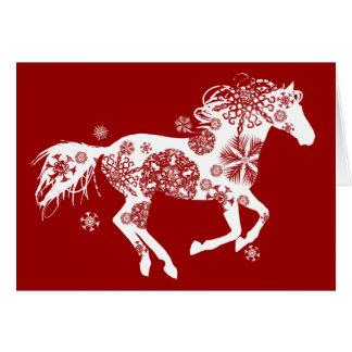 Carte de voeux de Noël de vacances de cheval de fl