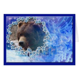 Carte de voeux de Noël d'ours gris