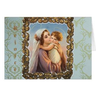 """Carte de voeux de Noël """"Madonna et enfant """""""