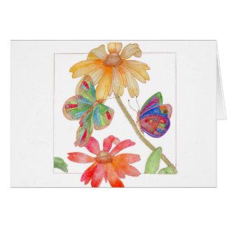 Carte de voeux de papillons et de fleurs