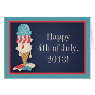 Carte de voeux de partie de crème glacée 4 juillet