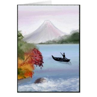 Carte de voeux de peinture du mont Fuji Digital