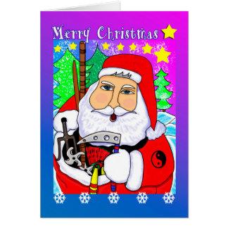 Carte de voeux de Père Noël d'arts martiaux de