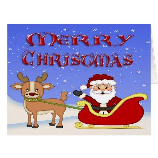 Carte de voeux de Père Noël de Joyeux Noël grande