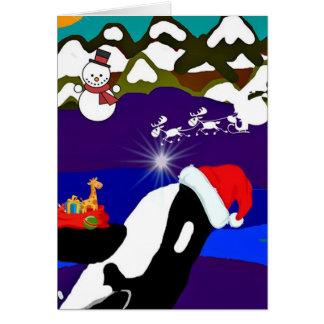 Carte de voeux de Père Noël d'épaulard de vacances