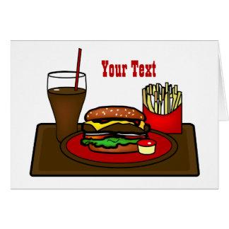 Carte de voeux de plateau d'hamburger