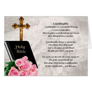 Carte de voeux de poème de bible et de filleule de