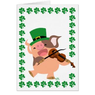 Carte de voeux de porc de violoniste du jour de St