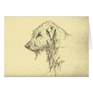 Carte de voeux de portrait de chien-loup irlandais