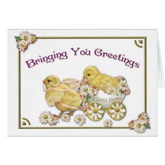 Carte de voeux de poussins de bébé de salutations