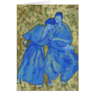 Carte de voeux de pratique bleue et verte d'aikido