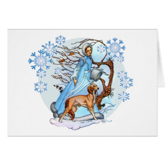 Carte de voeux de promenade d'hiver