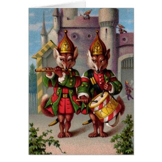 Carte de voeux de renards de fifre et de tambour