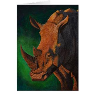 Carte de voeux de rhinocéros blanc