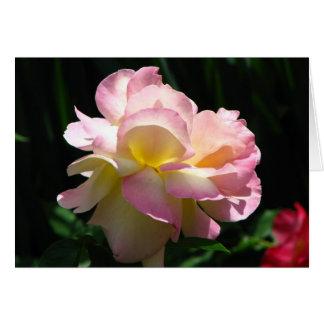 Carte de voeux de rose de thé rose