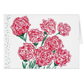 Carte de voeux de roses rouges