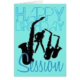 Carte de voeux de saxo de jazz de session de