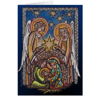 Carte de voeux de scène de nativité de Noël