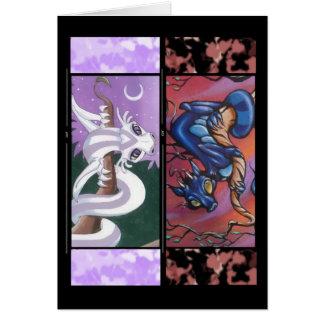 Carte de voeux de signet de deux dragons