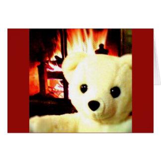 Carte de voeux de Snowbear de cheminée