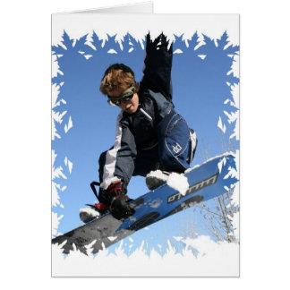 Carte de voeux de snowboarding d'adolescent