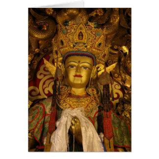 Carte de voeux de statue de monastère de sérums