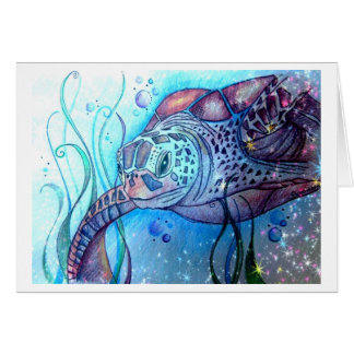 Carte de voeux de tortue de mer de nuit étoilée