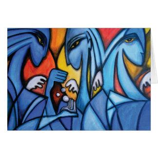 Carte de voeux de trois anges bleus