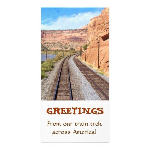 Carte de voeux de voie de train de canyons de l'Ut Photocartes