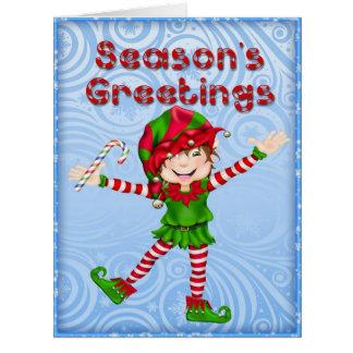 Carte de voeux d'Elf de Bonnes Fêtes grande