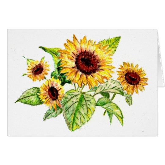 Carte de voeux dessin de bouquet de tournesol - Dessin de tournesol ...